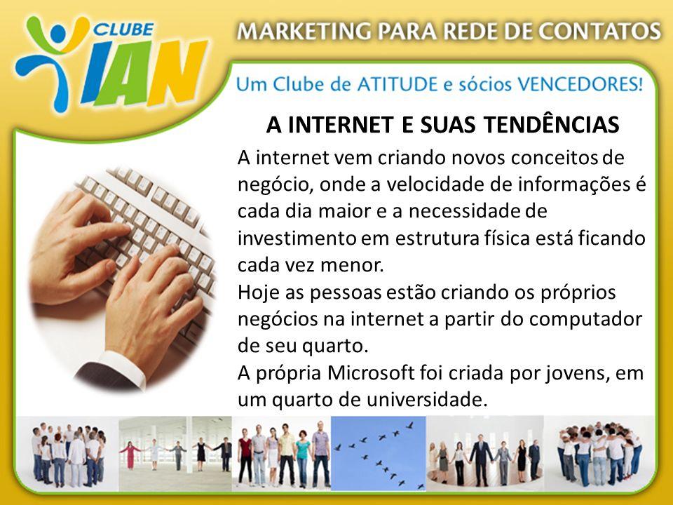 A INTERNET E SUAS TENDÊNCIAS A internet vem criando novos conceitos de negócio, onde a velocidade de informações é cada dia maior e a necessidade de i
