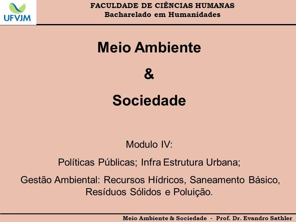 FACULDADE DE CIÊNCIAS HUMANAS Bacharelado em Humanidades Meio Ambiente & Sociedade - Prof. Dr. Evandro Sathler Meio Ambiente & Sociedade Modulo IV: Po