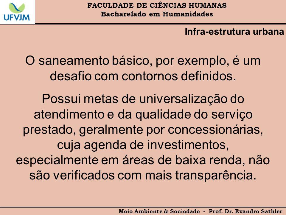 FACULDADE DE CIÊNCIAS HUMANAS Bacharelado em Humanidades Meio Ambiente & Sociedade - Prof. Dr. Evandro Sathler Infra-estrutura urbana O saneamento bás
