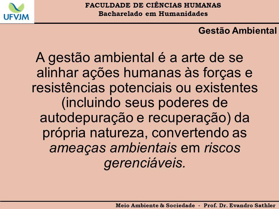 FACULDADE DE CIÊNCIAS HUMANAS Bacharelado em Humanidades Meio Ambiente & Sociedade - Prof. Dr. Evandro Sathler Gestão Ambiental A gestão ambiental é a