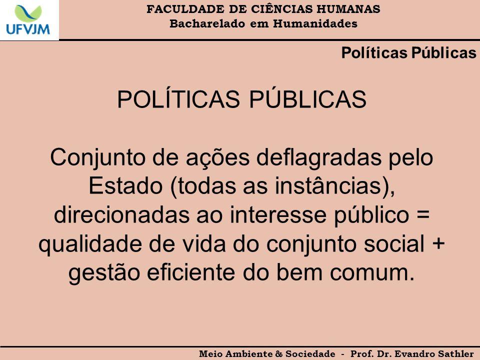 FACULDADE DE CIÊNCIAS HUMANAS Bacharelado em Humanidades Meio Ambiente & Sociedade - Prof. Dr. Evandro Sathler Políticas Públicas POLÍTICAS PÚBLICAS C