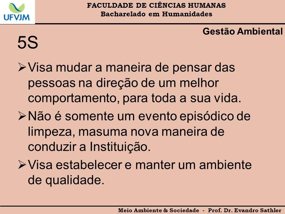 FACULDADE DE CIÊNCIAS HUMANAS Bacharelado em Humanidades Meio Ambiente & Sociedade - Prof. Dr. Evandro Sathler Gestão Ambiental 5S Visa mudar a maneir