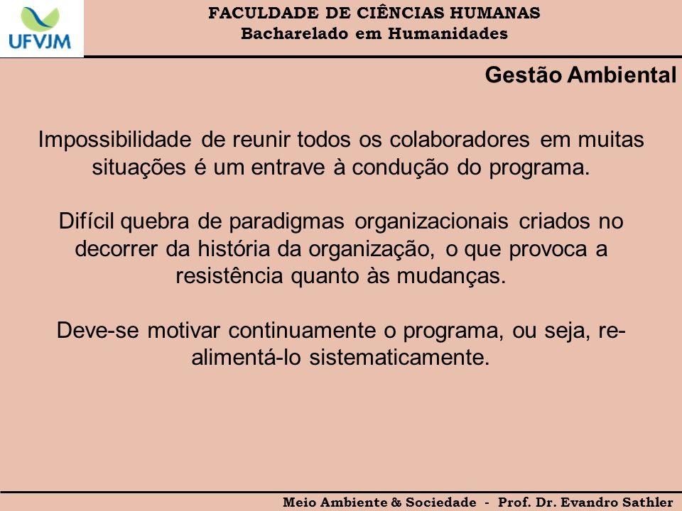 FACULDADE DE CIÊNCIAS HUMANAS Bacharelado em Humanidades Meio Ambiente & Sociedade - Prof. Dr. Evandro Sathler Gestão Ambiental Impossibilidade de reu