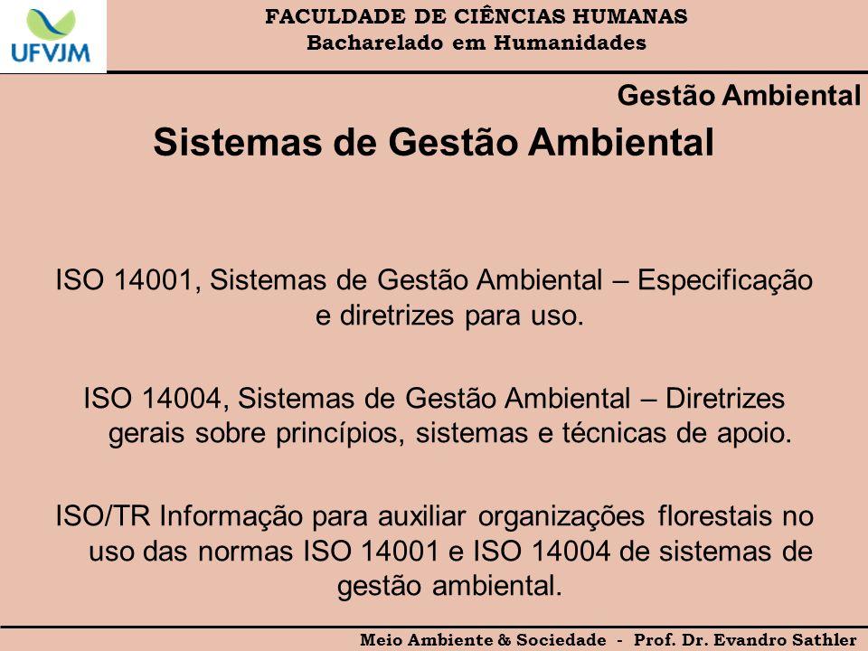 FACULDADE DE CIÊNCIAS HUMANAS Bacharelado em Humanidades Meio Ambiente & Sociedade - Prof. Dr. Evandro Sathler Gestão Ambiental Sistemas de Gestão Amb