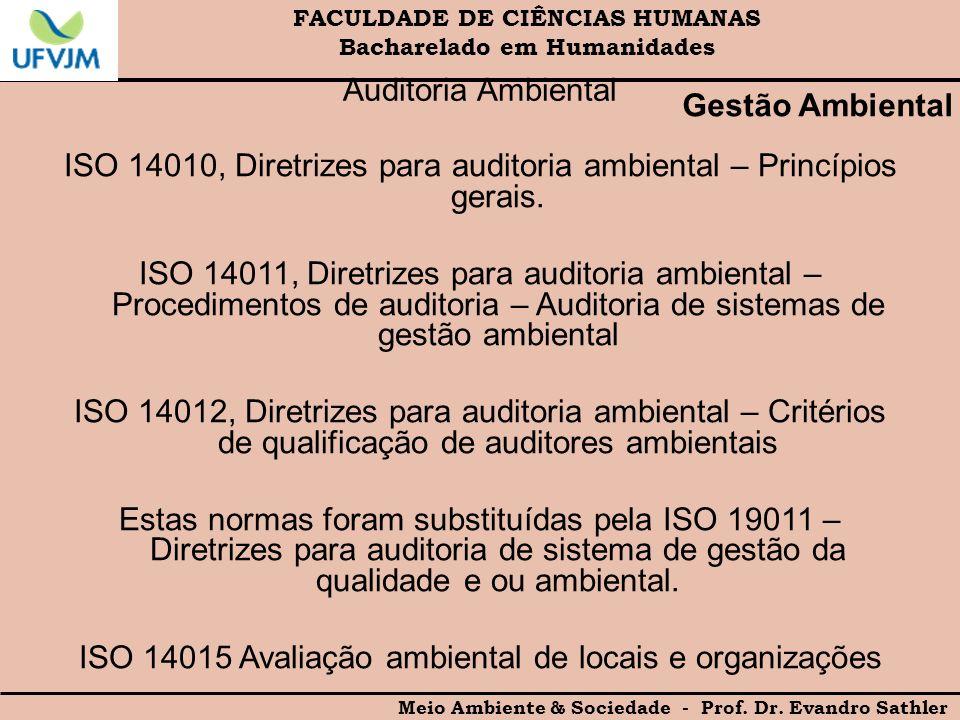 FACULDADE DE CIÊNCIAS HUMANAS Bacharelado em Humanidades Meio Ambiente & Sociedade - Prof. Dr. Evandro Sathler Gestão Ambiental Auditoria Ambiental IS