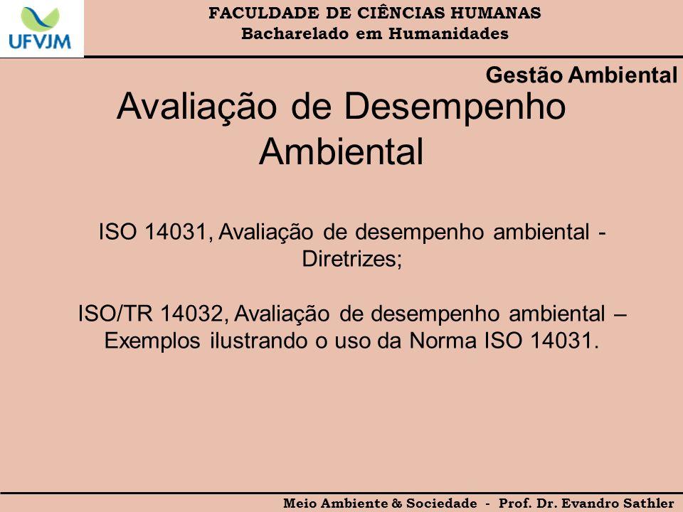 FACULDADE DE CIÊNCIAS HUMANAS Bacharelado em Humanidades Meio Ambiente & Sociedade - Prof. Dr. Evandro Sathler Gestão Ambiental Avaliação de Desempenh