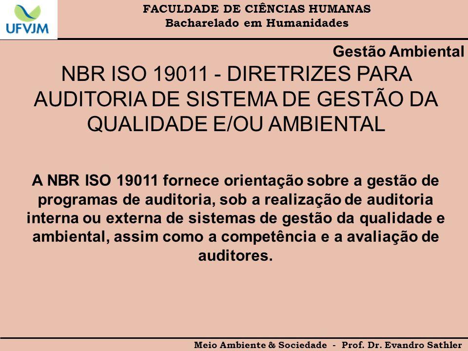 FACULDADE DE CIÊNCIAS HUMANAS Bacharelado em Humanidades Meio Ambiente & Sociedade - Prof. Dr. Evandro Sathler Gestão Ambiental NBR ISO 19011 - DIRETR
