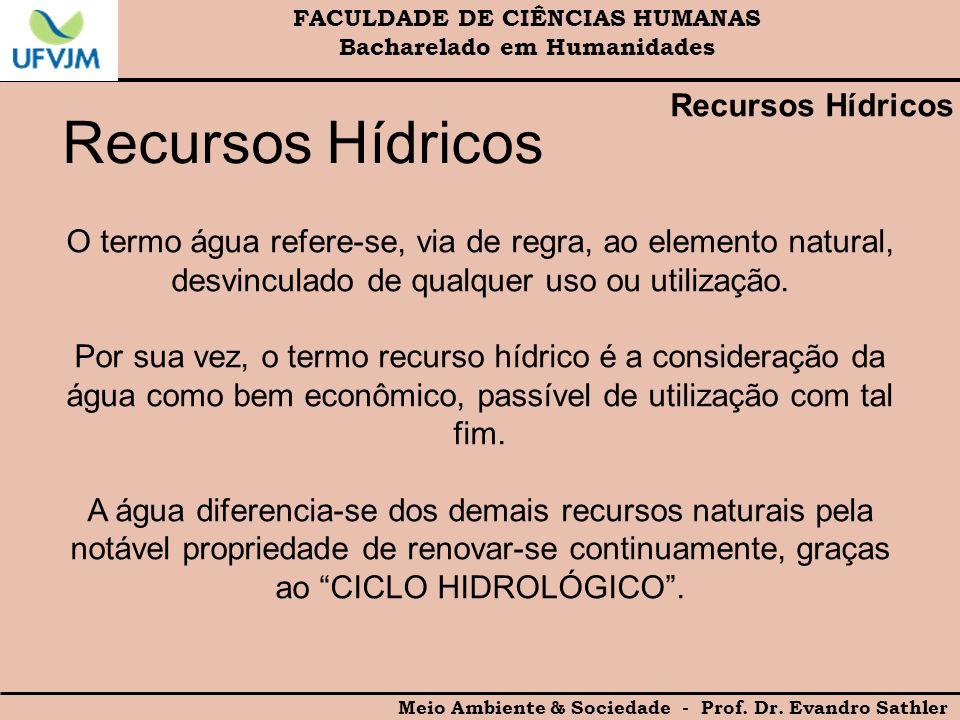 FACULDADE DE CIÊNCIAS HUMANAS Bacharelado em Humanidades Meio Ambiente & Sociedade - Prof. Dr. Evandro Sathler Recursos Hídricos O termo água refere-s