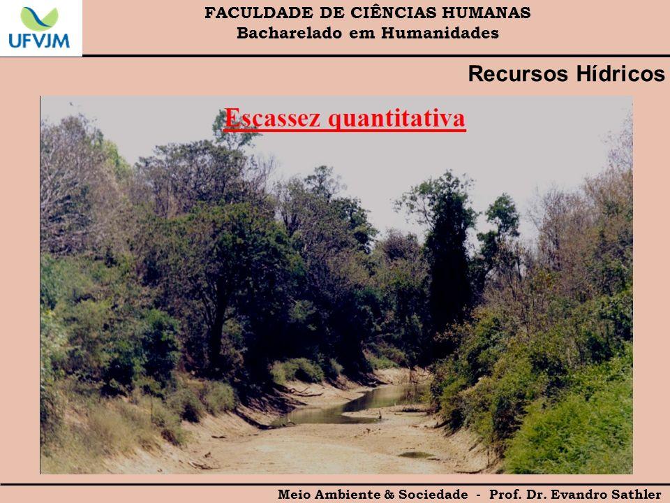 FACULDADE DE CIÊNCIAS HUMANAS Bacharelado em Humanidades Meio Ambiente & Sociedade - Prof. Dr. Evandro Sathler Recursos Hídricos