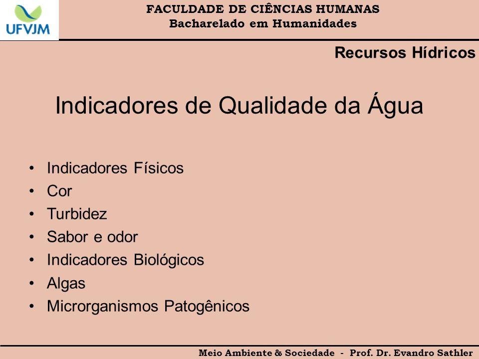 FACULDADE DE CIÊNCIAS HUMANAS Bacharelado em Humanidades Meio Ambiente & Sociedade - Prof. Dr. Evandro Sathler Indicadores de Qualidade da Água Indica
