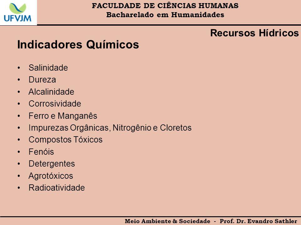 FACULDADE DE CIÊNCIAS HUMANAS Bacharelado em Humanidades Meio Ambiente & Sociedade - Prof. Dr. Evandro Sathler Indicadores Químicos Salinidade Dureza