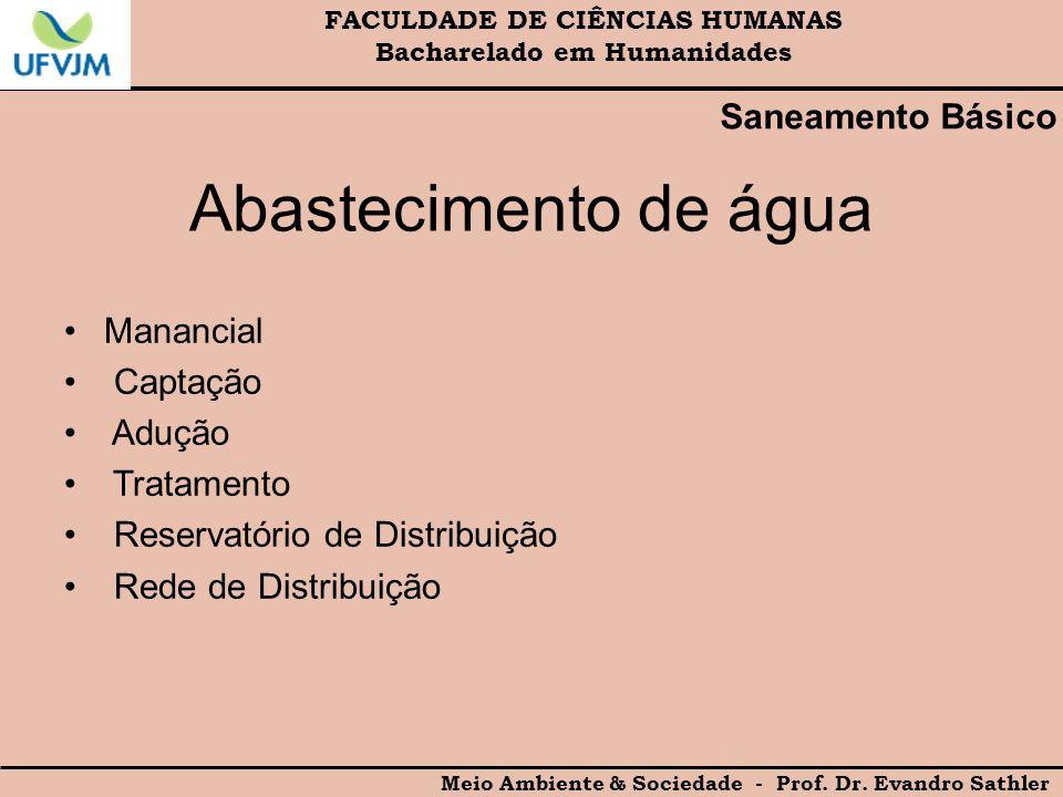 FACULDADE DE CIÊNCIAS HUMANAS Bacharelado em Humanidades Meio Ambiente & Sociedade - Prof. Dr. Evandro Sathler Saneamento Básico Abastecimento de água