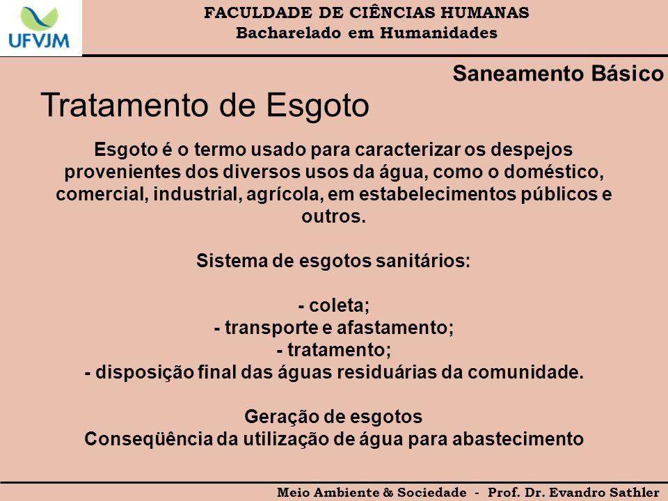 FACULDADE DE CIÊNCIAS HUMANAS Bacharelado em Humanidades Meio Ambiente & Sociedade - Prof. Dr. Evandro Sathler Saneamento Básico Tratamento de Esgoto
