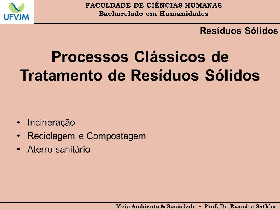 FACULDADE DE CIÊNCIAS HUMANAS Bacharelado em Humanidades Meio Ambiente & Sociedade - Prof. Dr. Evandro Sathler Resíduos Sólidos Processos Clássicos de