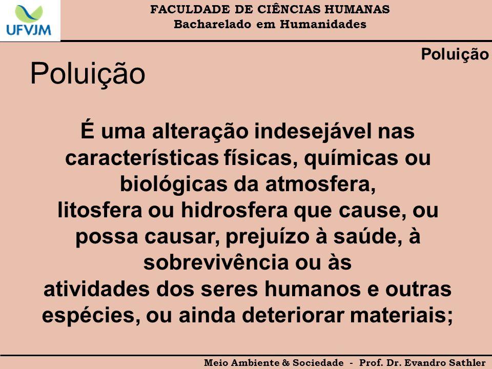FACULDADE DE CIÊNCIAS HUMANAS Bacharelado em Humanidades Meio Ambiente & Sociedade - Prof. Dr. Evandro Sathler Poluição É uma alteração indesejável na