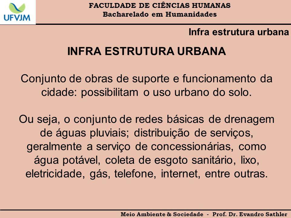 FACULDADE DE CIÊNCIAS HUMANAS Bacharelado em Humanidades Meio Ambiente & Sociedade - Prof. Dr. Evandro Sathler Infra estrutura urbana INFRA ESTRUTURA