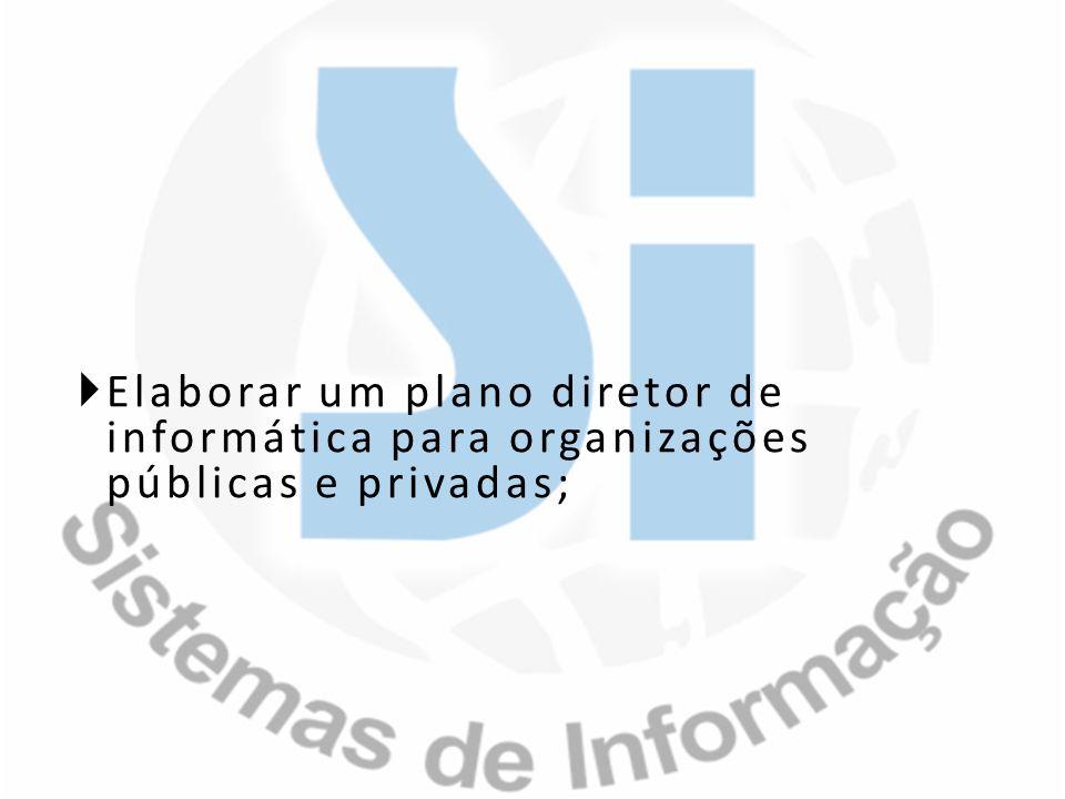 Elaborar um plano diretor de informática para organizações públicas e privadas;