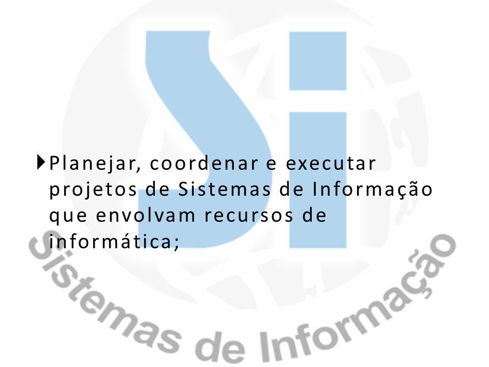 Planejar, coordenar e executar projetos de Sistemas de Informação que envolvam recursos de informática;