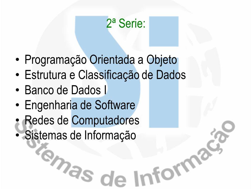 2ª Serie: Programação Orientada a Objeto Estrutura e Classificação de Dados Banco de Dados I Engenharia de Software Redes de Computadores Sistemas de