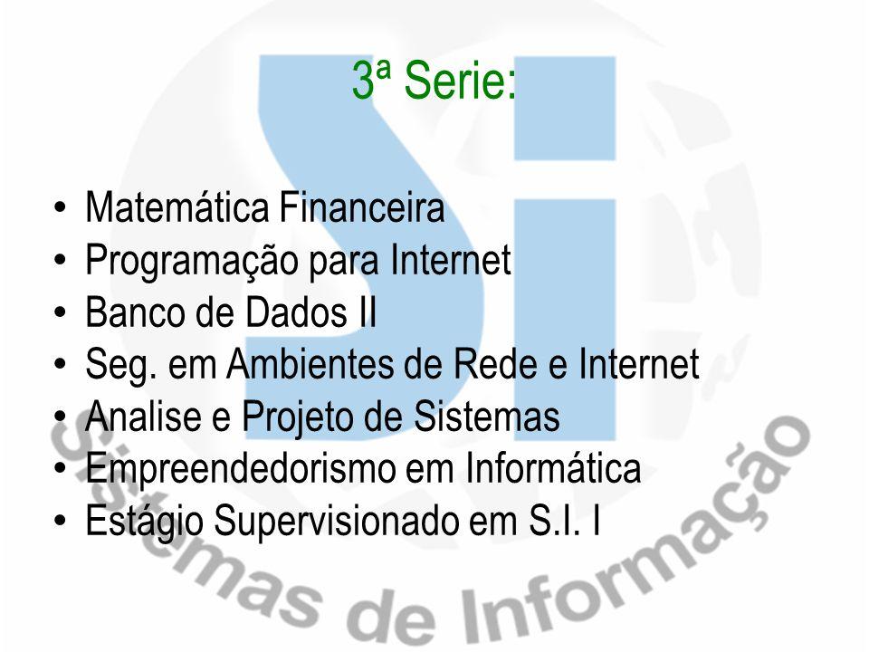 3ª Serie: Matemática Financeira Programação para Internet Banco de Dados II Seg. em Ambientes de Rede e Internet Analise e Projeto de Sistemas Empreen