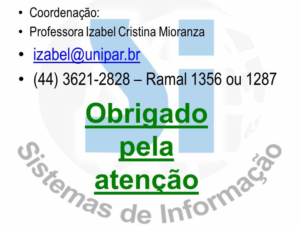 Coordenação: Professora Izabel Cristina Mioranza izabel@unipar.br (44) 3621-2828 – Ramal 1356 ou 1287 Obrigado pela atenção