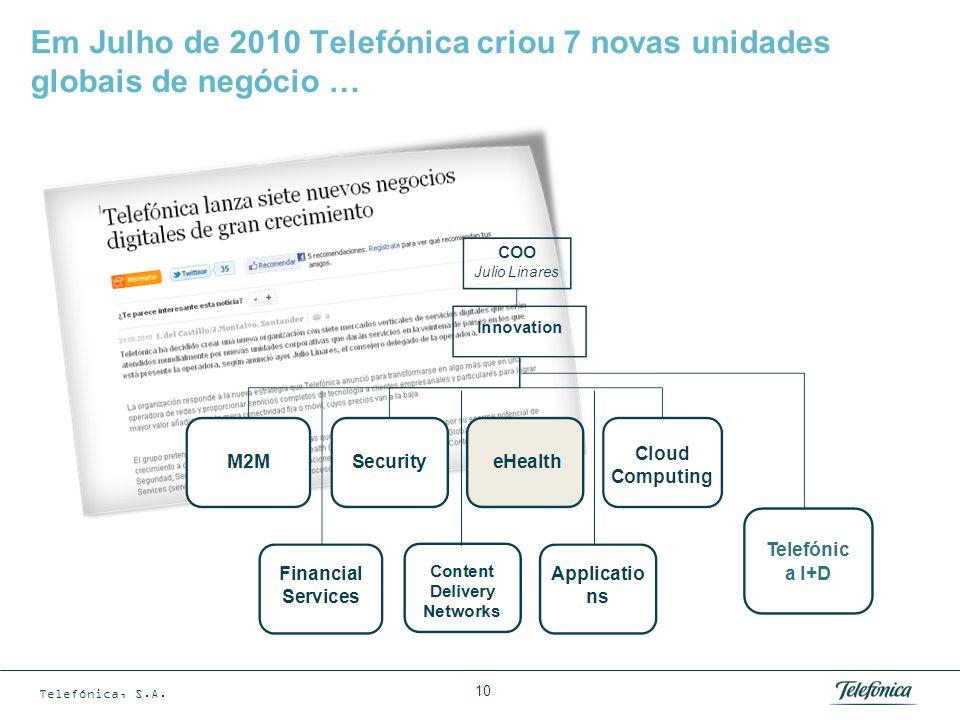 Telefónica, S.A. 10 Em Julho de 2010 Telefónica criou 7 novas unidades globais de negócio …