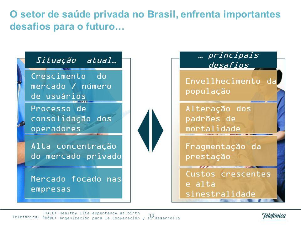13 O setor de saúde privada no Brasil, enfrenta importantes desafios para o futuro… Envellhecimento da população Alteração dos padrões de mortalidade