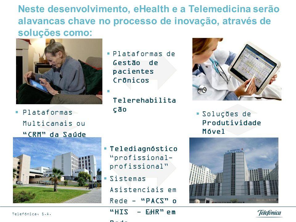 Telefónica, S.A. 16 Plataformas Multicanais ou CRM da Saúde Plataformas de Gestão de pacientes Crônicos Telerehabilita ção Neste desenvolvimento, eHea