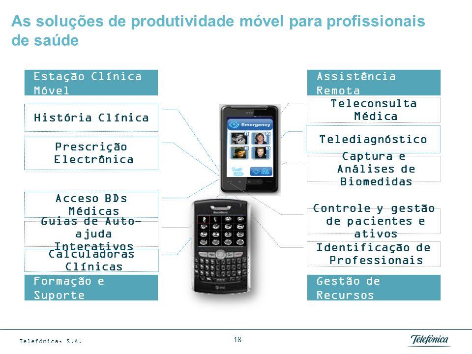 Telefónica, S.A. 18 As soluções de produtividade móvel para profissionais de saúde Calculadoras Clínicas Captura e Análises de Biomedidas História Clí