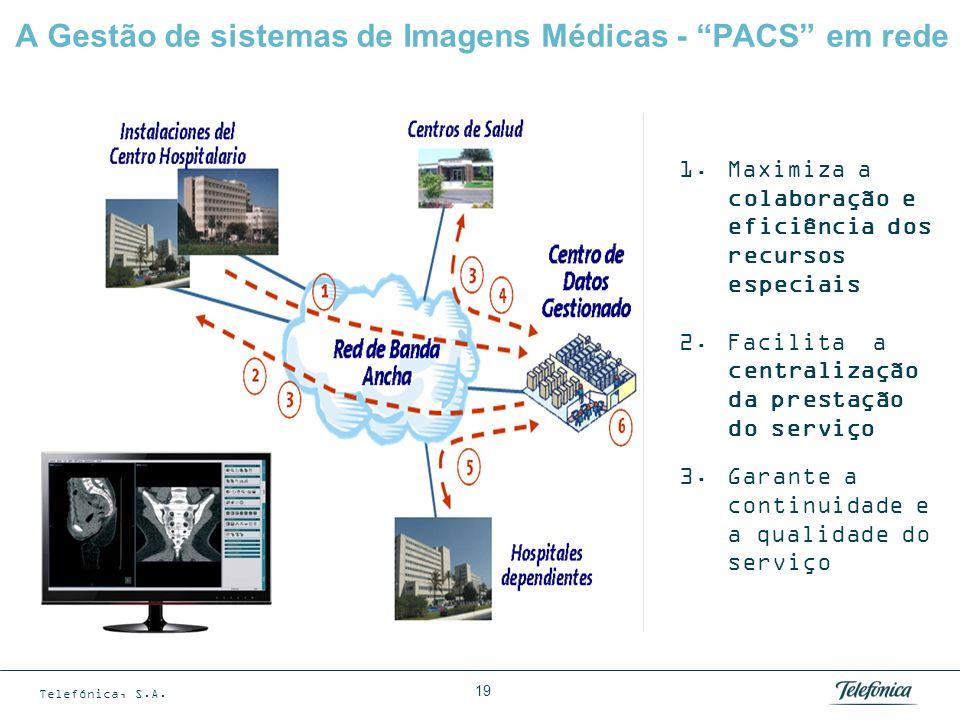 Telefónica, S.A. 19 A Gestão de sistemas de Imagens Médicas - PACS em rede 1.Maximiza a colaboração e eficiência dos recursos especiais 2.Facilita a c