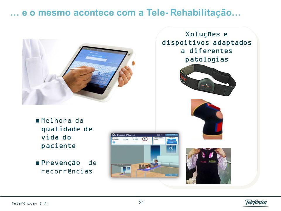 Telefónica, S.A. 24 … e o mesmo acontece com a Tele- Rehabilitação… Melhora da qualidade de vida do paciente Prevenção de recorrências Soluções e disp