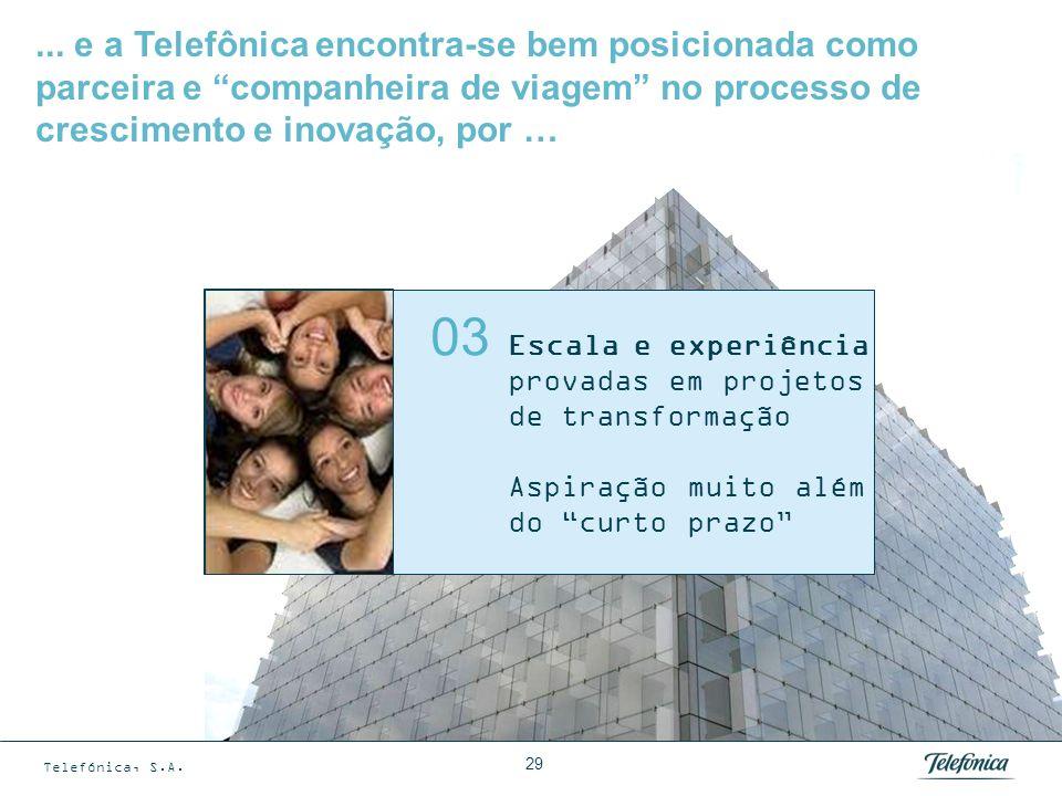 Telefónica, S.A. 29 Escala e experiência provadas em projetos de transformação Aspiração muito além do curto prazo 03... e a Telefônica encontra-se be