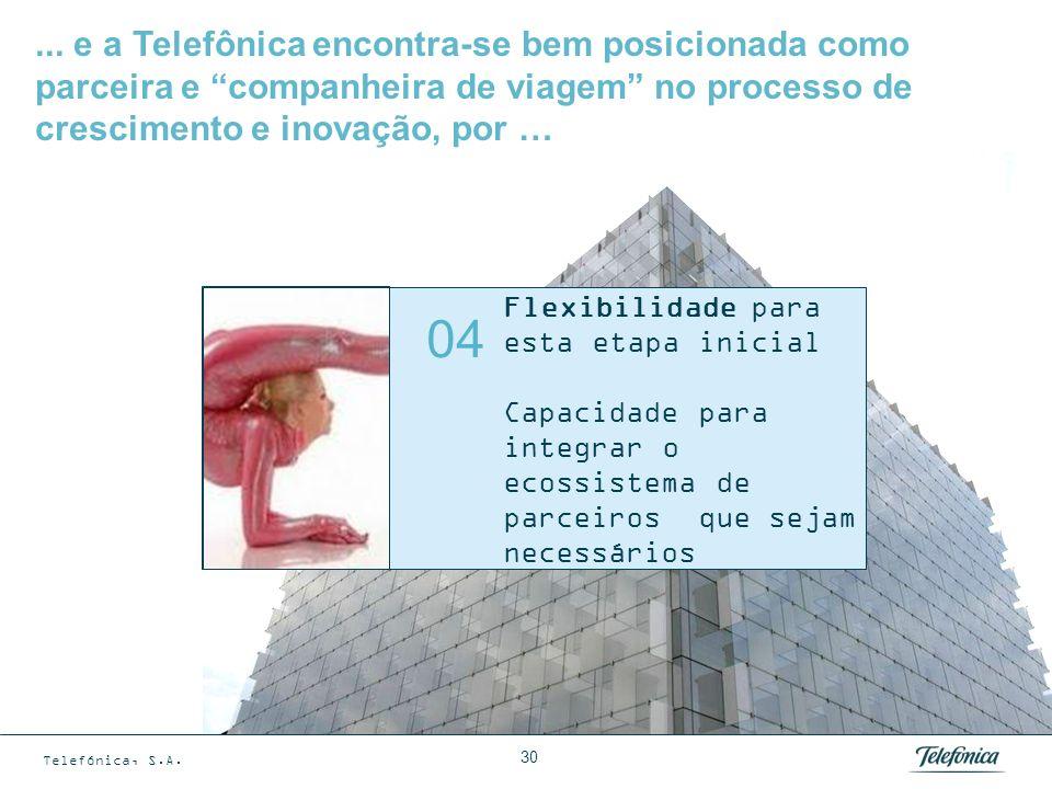 Telefónica, S.A. 30 Flexibilidade para esta etapa inicial Capacidade para integrar o ecossistema de parceiros que sejam necessários 04... e a Telefôni