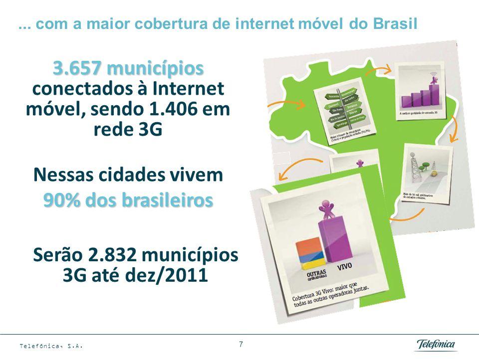 Telefónica, S.A. 7... com a maior cobertura de internet móvel do Brasil Serão 2.832 municípios 3G até dez/2011 3.657 municípios 3.657 municípios conec