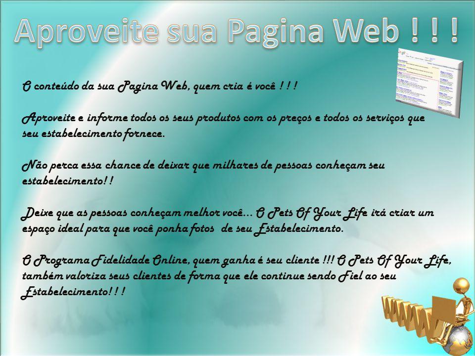 O conteúdo da sua Pagina Web, quem cria é você .