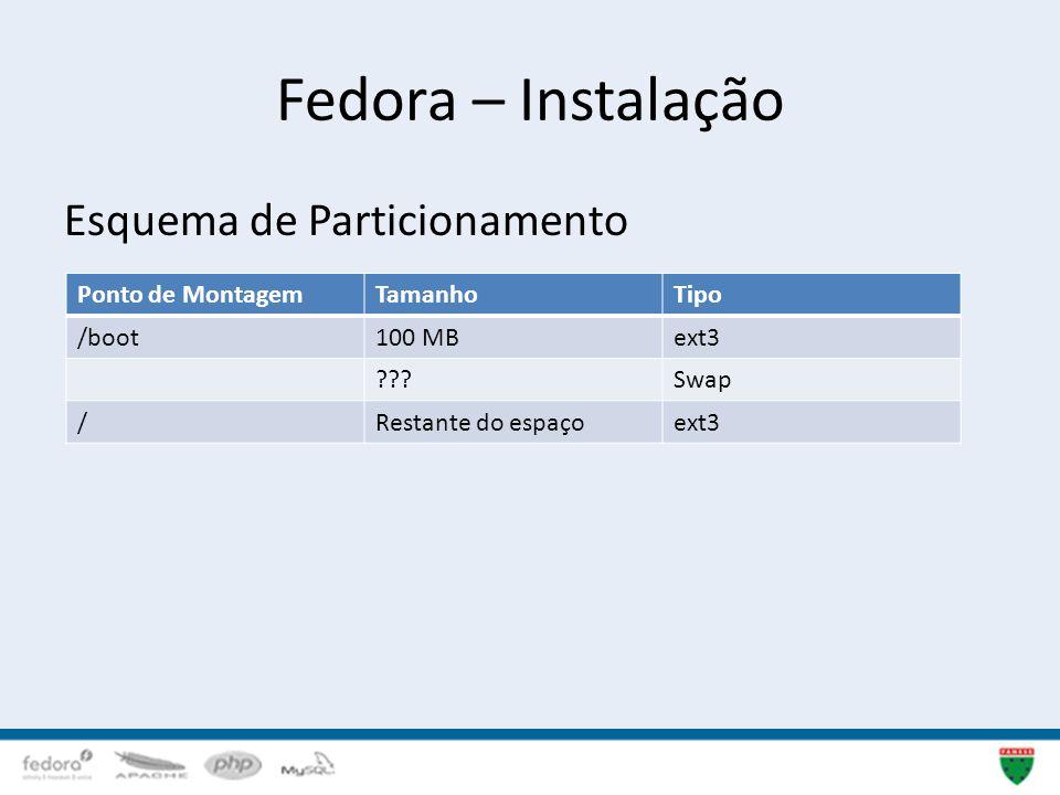 Fedora – Instalação 16 Esquema de Particionamento Ponto de MontagemTamanhoTipo /boot100 MBext3 ???Swap /Restante do espaçoext3