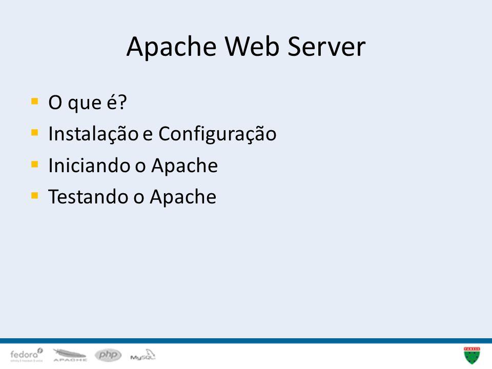Apache Web Server O que é? Instalação e Configuração Iniciando o Apache Testando o Apache 18