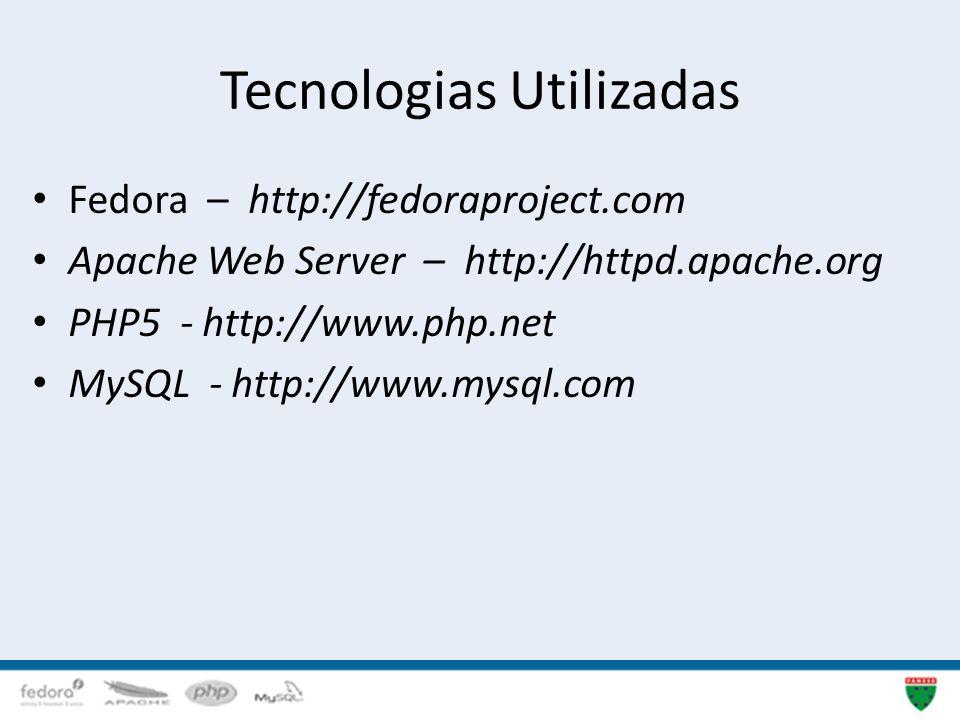 Tecnologias Utilizadas Fedora – http://fedoraproject.com Apache Web Server – http://httpd.apache.org PHP5 - http://www.php.net MySQL - http://www.mysq