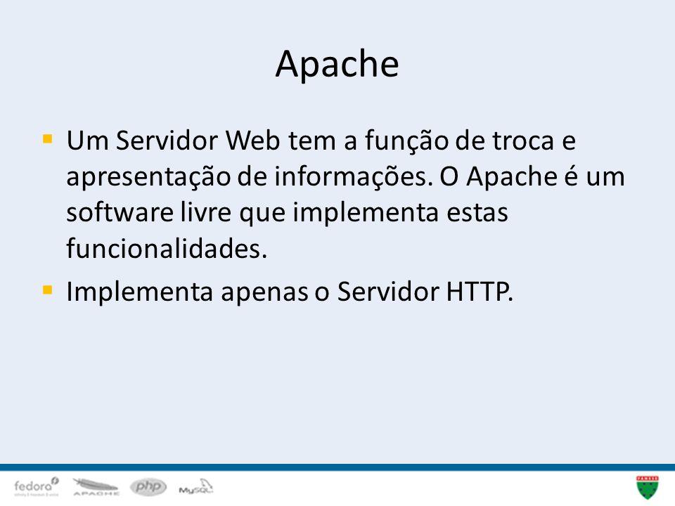 Apache Um Servidor Web tem a função de troca e apresentação de informações. O Apache é um software livre que implementa estas funcionalidades. Impleme