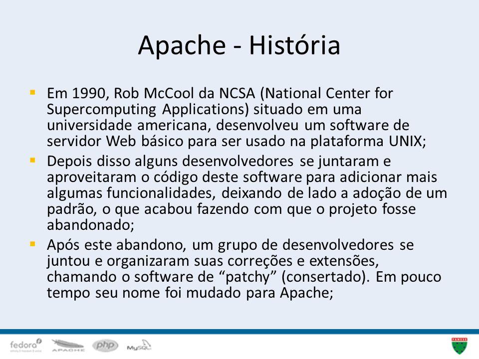 Apache - História Em 1990, Rob McCool da NCSA (National Center for Supercomputing Applications) situado em uma universidade americana, desenvolveu um