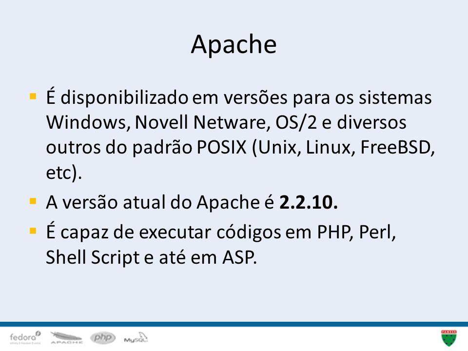 Apache É disponibilizado em versões para os sistemas Windows, Novell Netware, OS/2 e diversos outros do padrão POSIX (Unix, Linux, FreeBSD, etc). A ve