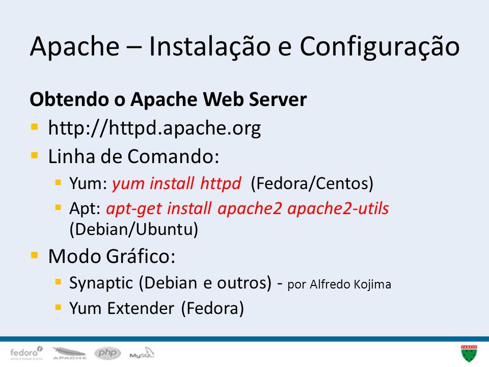 Apache – Instalação e Configuração Obtendo o Apache Web Server http://httpd.apache.org Linha de Comando: Yum: yum install httpd (Fedora/Centos) Apt: a