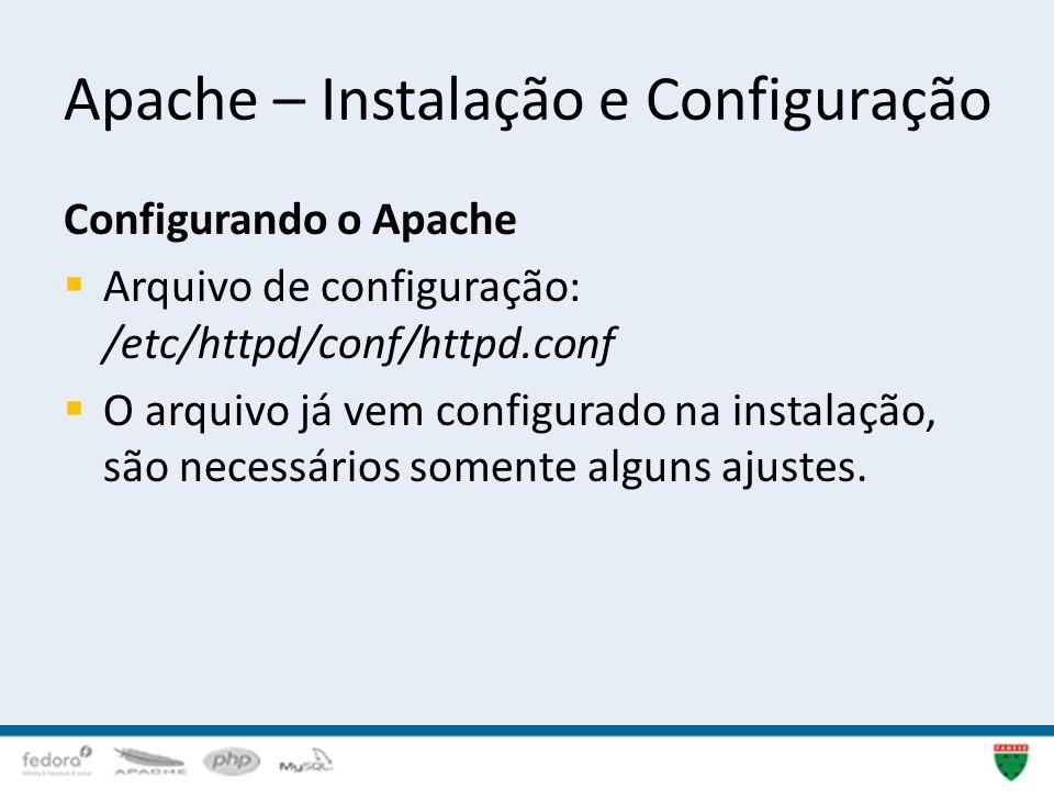 Apache – Instalação e Configuração Configurando o Apache Arquivo de configuração: /etc/httpd/conf/httpd.conf O arquivo já vem configurado na instalaçã