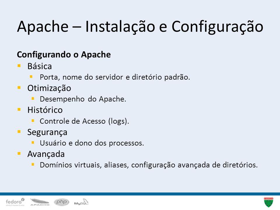 Apache – Instalação e Configuração Configurando o Apache Básica Porta, nome do servidor e diretório padrão. Otimização Desempenho do Apache. Histórico