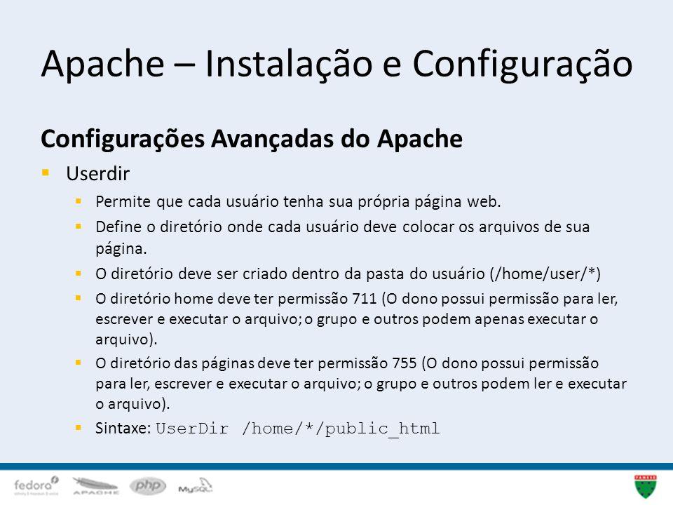 Apache – Instalação e Configuração Configurações Avançadas do Apache Userdir Permite que cada usuário tenha sua própria página web. Define o diretório