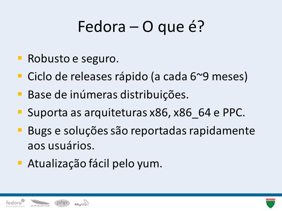 Fedora – O que é? Robusto e seguro. Ciclo de releases rápido (a cada 6~9 meses) Base de inúmeras distribuições. Suporta as arquiteturas x86, x86_64 e