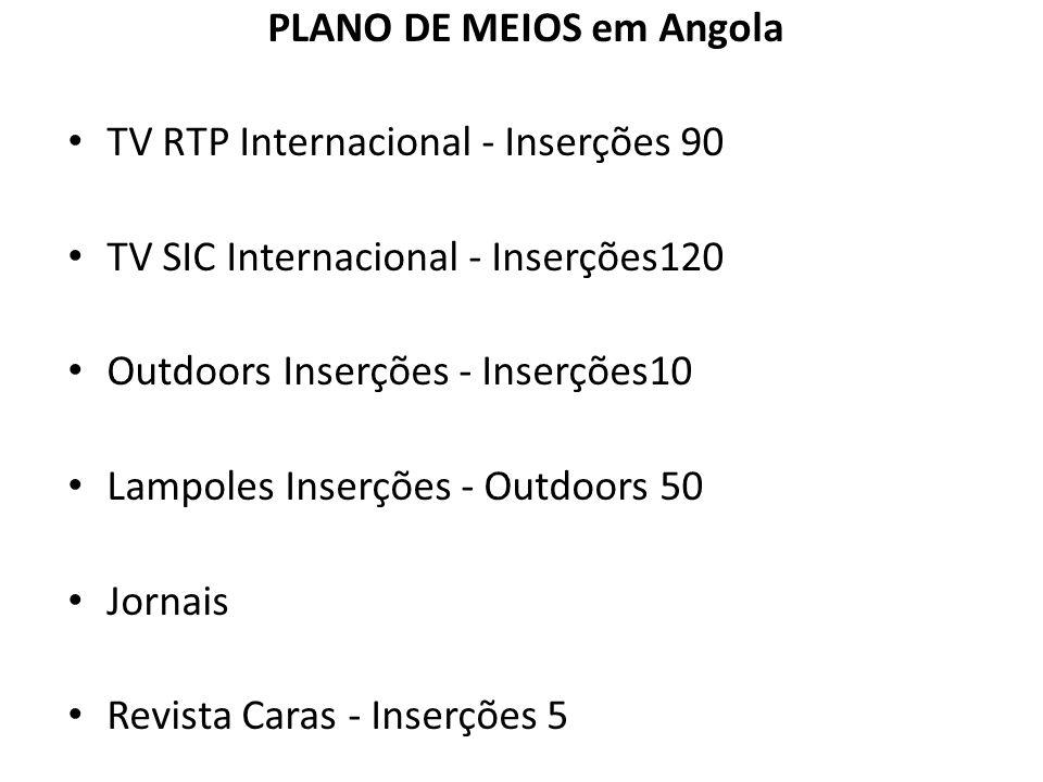 PLANO DE MEIOS em Angola TV RTP Internacional - Inserções 90 TV SIC Internacional - Inserções120 Outdoors Inserções - Inserções10 Lampoles Inserções -