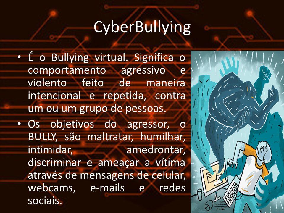 CyberBullying É o Bullying virtual. Significa o comportamento agressivo e violento feito de maneira intencional e repetida, contra um ou um grupo de p