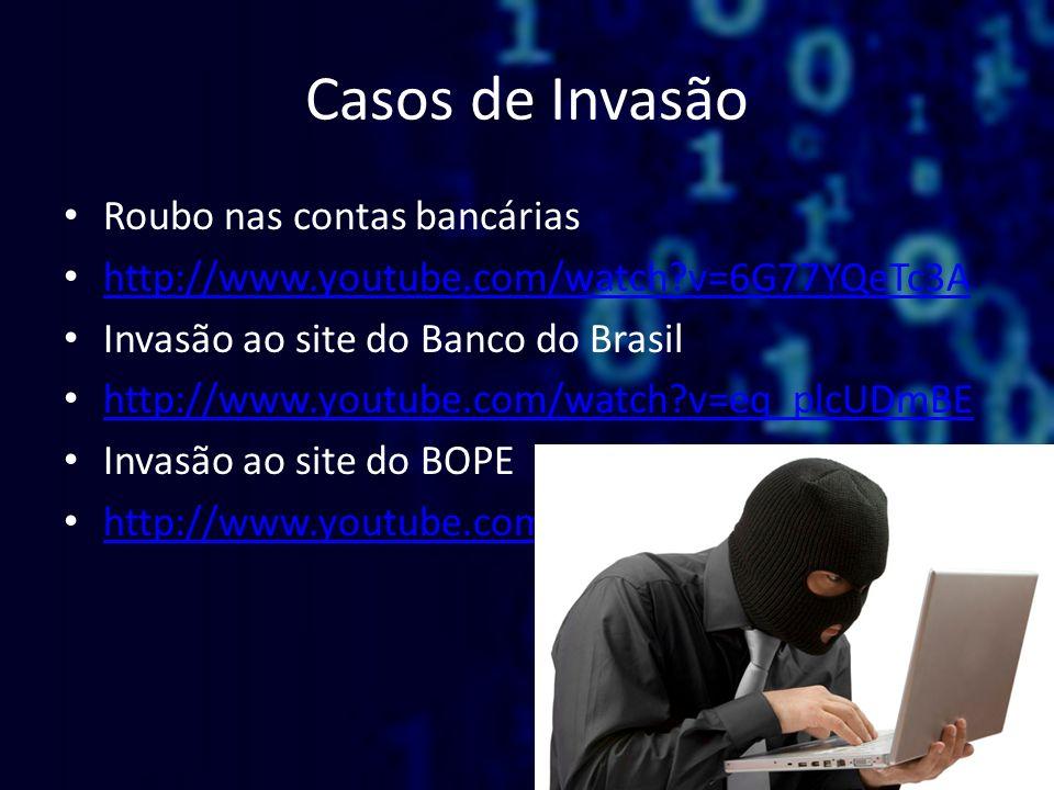Casos de Invasão Roubo nas contas bancárias http://www.youtube.com/watch?v=6G77YQeTc3A Invasão ao site do Banco do Brasil http://www.youtube.com/watch
