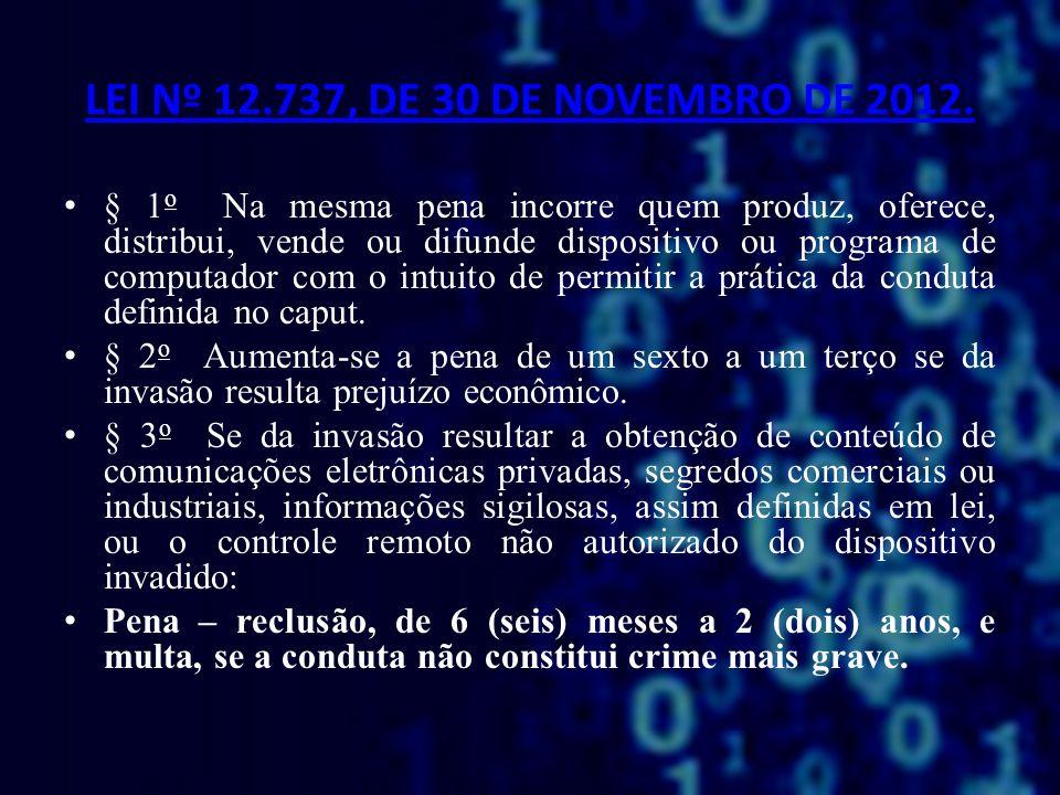 LEI Nº 12.737, DE 30 DE NOVEMBRO DE 2012. § 1 o Na mesma pena incorre quem produz, oferece, distribui, vende ou difunde dispositivo ou programa de com